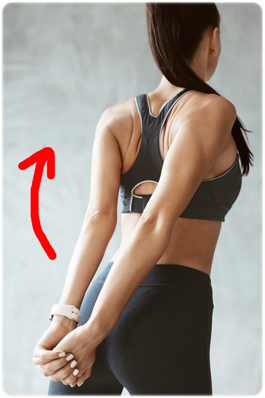 背中で腕を引っ張って肩甲骨を寄せる運動